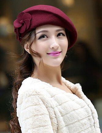 toptens 100% Wollfilz Elegant Frauen Damen Baskenmütze im französischen Stil Herbst Winter Mütze Warm Pillendose Hat Tam Gap (Burgund)