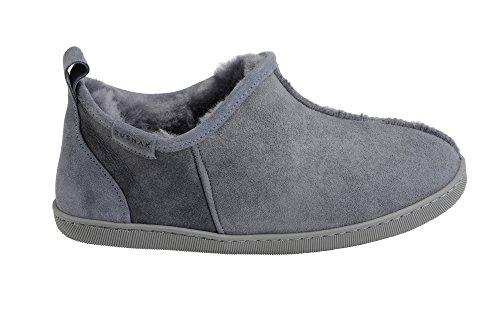 Hommes Luxe Peau De Mouton Pantoufles Chaussons Chaussures Avec Doublure Chaud Laine Gris