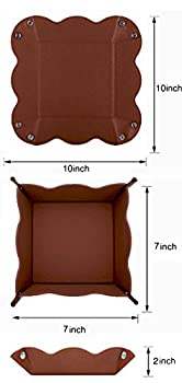 Lisrsc Travel Valet Jewelry Organiser Tray For Men,leather Portable Collapsible Wallet Phone Desk Storage Tray (Dark Brown) 6
