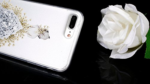 Coque iPhone 7 Plus,Étui iPhone 7 Plus,iPhone 7 Plus Case,ikasus® Coque iPhone 7 Plus Silicone Étui Housse Téléphone Couverture TPU avec Coloré Pressé Vraies Fleurs Secs Bling Glitter Sparkle Girl Fle Argent