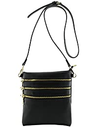 Amy&Joey 4 Pockets Functional Light Weight Cross Body Bags With Removable Crossbody Strap (Black)