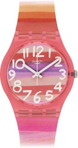 Swatch Astilbe – Reloj Analógico de Cuarzo para Mujer, correa de Plástico color Multicolor