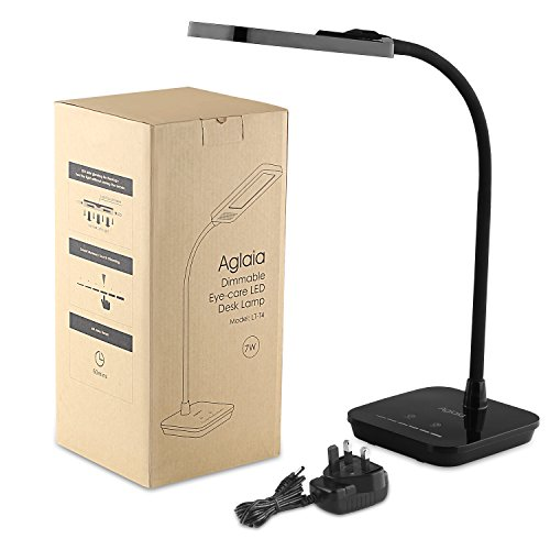 Aglaia Desk Lamp, 7W LED Eye-Care Dimmable Table Light with Touch-Sensitive Control Panel, 1-Hour Timer, 6-Level Dimmer (Black)