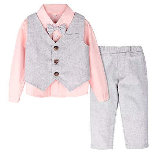 mintgreen Baby Jungen 3 Stück Gentelman Anzug Outfits Festliche Taufanzug Hochzeitanzug Krawatte Hemd + Weste + Hosen (Rosa, 110/3-4 Jahre) -