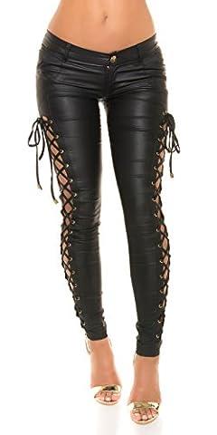KouCla Simili cuir Pantalon Skinny avec laçage - Similicuir Taille Basse pantalon Leggings Noir Beige Rouge Blanc Gr. S - XL - Noir, M