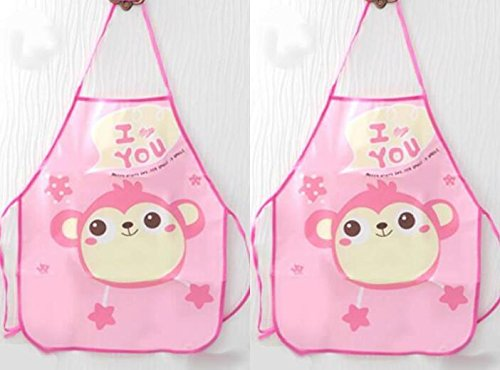 SunnyGod Hausfrau-Schürze Kinderschöne Schürze Cartoon Animal Printing Schürze Set_Pink AFFE