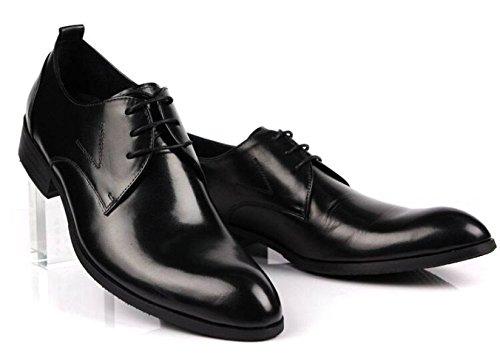 GRRONG Chaussures En Cuir Pour Hommes Loisirs Tenue Pointu Noir Black