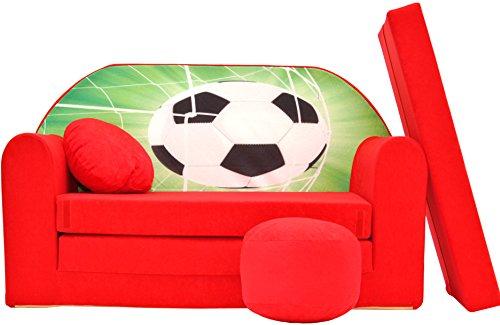 PRO COSMO D3, Divano Letto futon con Pouf/poggiapiedi/Cuscino, in Tessuto, per Bambini, 168x 98x 60cm, Rosso