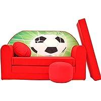 Preisvergleich für PRO COSMO D3Kids Schlafsofa mit Puff/Fußbank/Kissen, Stoff, rot, 168x 98x 60cm