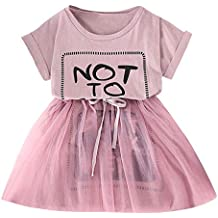 beautyjourney Vestido de Malla de Manga Corta para niñas Vestido de Princesa Blusa Casual Camisa Trajes