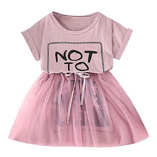 Bestow Vestimenta Informal Ropa de niña de Manga Corta con Estampado de Letras Vestido de Malla Vestido de Princesa(Rosado,6T)
