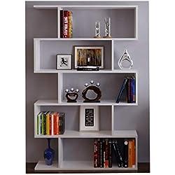 HOMIDEA Core Bibliothèque - Étagère de Rangement - Étagère pour Livres - Étagère pour Bureau/Salon par Le Design Moderne (Blanc - Laqué)