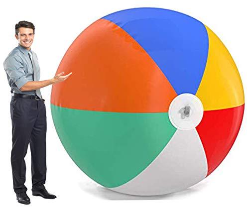 fblasbarer 6-Fuß-Wasserball für Pool, Strand, Sommerpartys und Geschenke | 1 Riesen-Jumbo-Bälle in Regenbogenfarben, 72 Zoll groß ()
