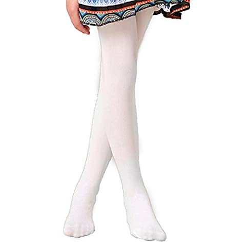 HDE Girl's Stockings Microfiber Opaque Footed Kids Tights (White, Small)