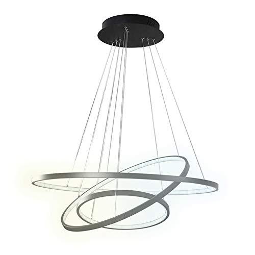 3 Ringe LED Deckenleuchte, Dimmbar mit Fernbedienung, 3000K-6000K, Deckenbeleuchtung für Wohnzimmer, Schlafzimmer, Lobby, Hotel (Pendelleuchte-Dimmbar) -