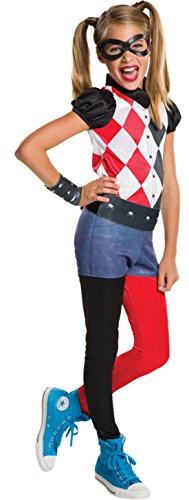Halloweenia - Mädchen Karneval Kostüm Harley Quinn, Mehrfarbig, Größe 128-140, 8-10 Jahre (Supergirl Kostüm Melissa)