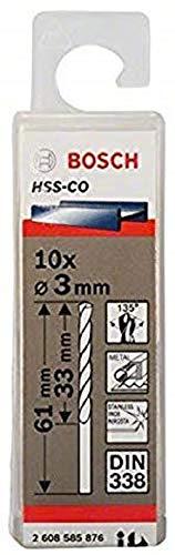 Bosch Professional Metallbohrer HSS-Cobalt (10 Stück, Ø 3 mm)