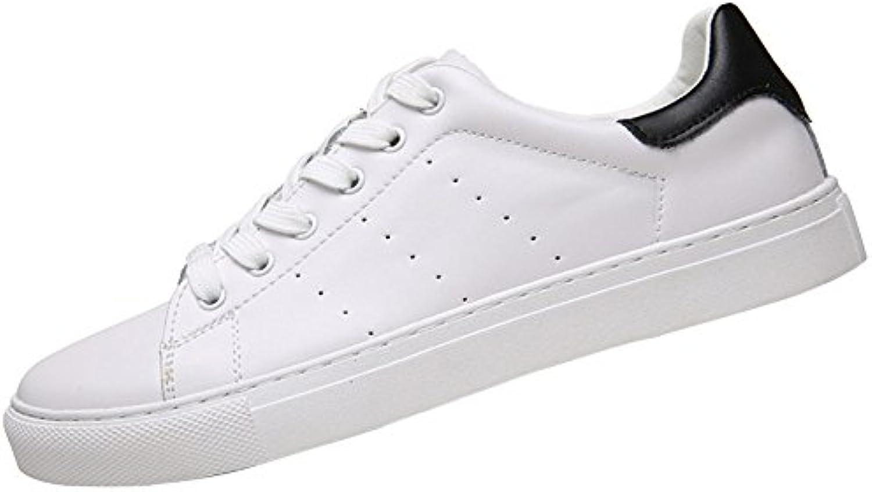 MYXUA Zapatos Casuales Blancos Respirables De Cuero De Los Hombres Zapatos Deportivos Para Estudiantes