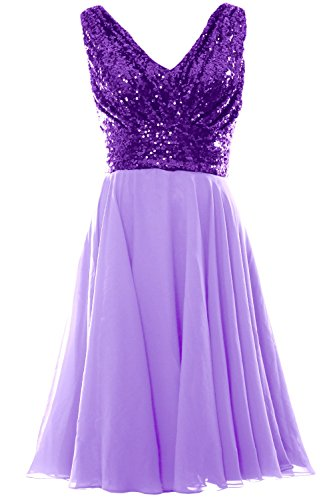 MACloth Women V Neck Sequin Chiffon Short Bridesmaid Dress Formal Evening Gown Purple-Lavender