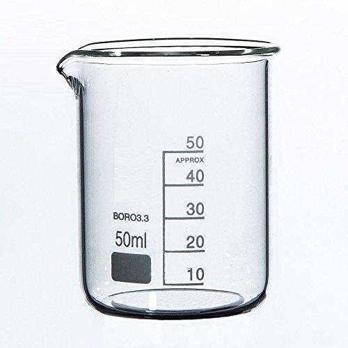 Rocwing - Boro 3.3 Glas Messbecher für Labor (50ml)