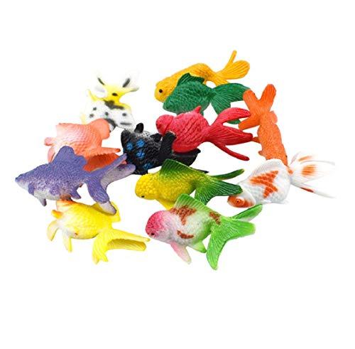 Koojawind 12 StüCke Kunststoff Goldfisch Tier Spielzeug Kinder Geburtstagsfeier Geschenk Aquarium Dekore, Mini Fisch Rot Miniatur Spielzeug Buntes Spielzeug