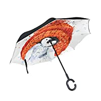 BENNIGIRY Penguin Pattern Print Car Inverted Umbrella Outdoor, Windproof And UV Proof Reverse Folding Umbrella With C-Shaped Hands Free Handle