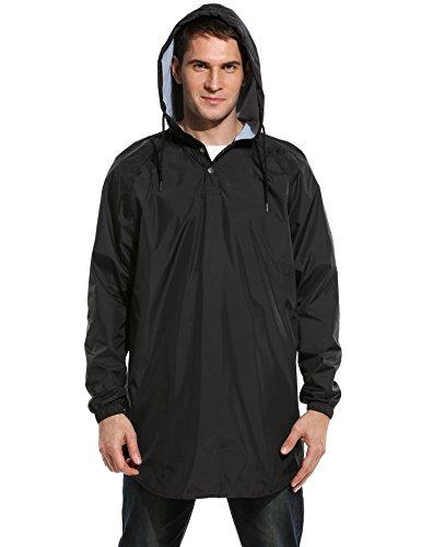 Coofandy Men's Waterproof Light Weight Hooded Raincoat Outdoor Rain Poncho Jacket