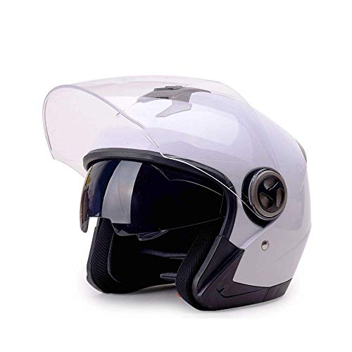 JKLL Casco modulare modulare per Moto Flip Up Dual Visor Schermo Solare: Taglia L, Bianco