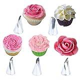 GETIT72 Spritztüllen, Rosenblüten-Design, Edelstahl, zum Dekorieren von Kuchen, Backen, Backen, Cupcakes, Gebäck, Blumen, Gebäck, Kuchen, Dekoration, Tüllen, cremefarben, Blütenblatt