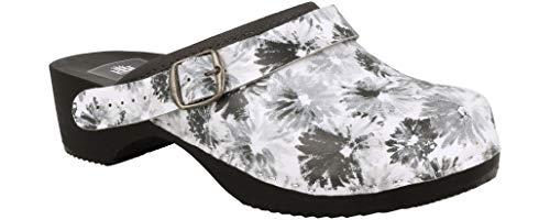 Zoccoli di Legno in Vera Pelle da Donna Clogs Legno Calzature Scarpe Ospedale (37 EU, Grigio 873)