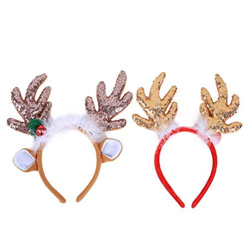 (PRETYZOOM 2 Stücke Rentier Geweih Pailletten Stirnbänder Weihnachten Kostüm Zubehör Dekorative Haarbänder Kopfschmuck Party Favors)
