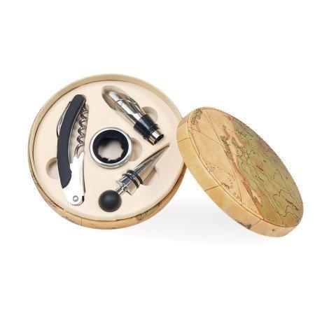 CAPRILO Set de Vino Decorativo en Caja con 4 Accesorios Mapa. Sacacorchos. Abrebotellas Regalos Originales, Decoración Hogar. Menaje de Cocina. 4 x 15 x 15 cm.