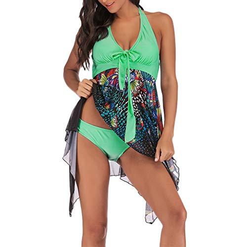 OverDose Damen 2PCS Frauen Blumendruck Übergröße Bikini Set Sommer Bikinis Tankini Swim Kleid Badeanzug Beachwear gepolsterte Bademode Frauen Badeanzüge Strand Badekleider (Übergröße Kittel Kostüm)