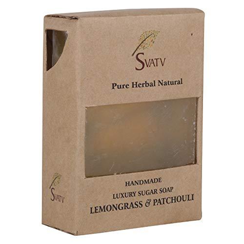 SVATV handgemachte Luxus Zucker Seife Lemongrass & Patchouli für alle Hauttypen 100g Bar - Indische Patchouli