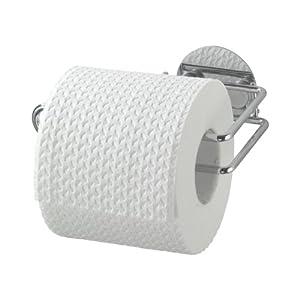 WENKO 18774100 Turbo-Loc Toilettenpapierrollenhalter, Befestigen ohne bohren, Stahl, 14 x 6 x 9 cm, Chrom