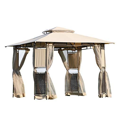 Outsunny Pavillon Gartenpavillon Gartenzelt Doppeldach mit Seitenwänden