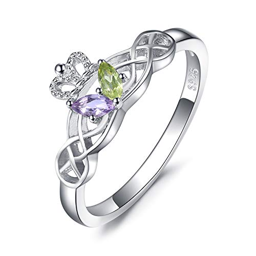 JewelryPalace Schmetterling Celtic Claddagh echter Peridot Amethyst Ring 925 Sterling Silber