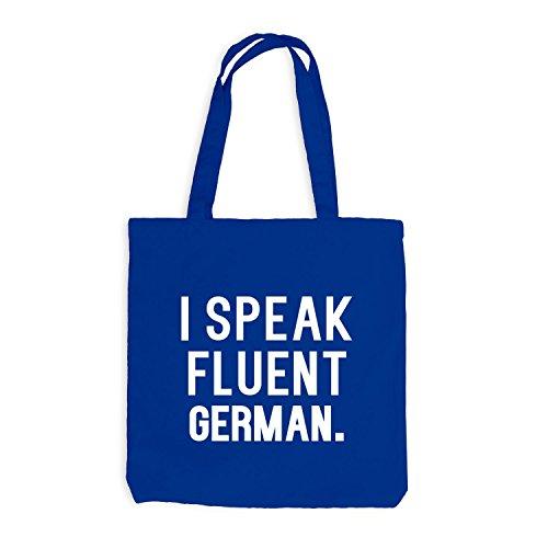 Jutebeutel - I speak fluent German - Sprache Deutsch Royalblau