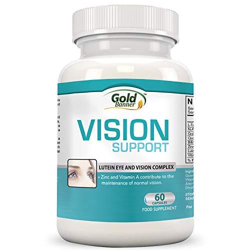 Gold Banner- Apoyo avanzado para la vista con luteína - Pastillas de fórmula para la vista con luteína, arándano, zinc, semilla de uva y vitaminas esenciales - Cápsulas para la vista totalmente naturales para la salud de los ojos - ¡Elaborado en EE.UU.!