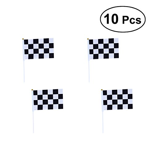 BESTOYARD Racing Stick Fahnen Mini Racing Flags Schwarz Weiß Checkered Flagge auf Stick für Nascar Tiny Car Sport Veranstaltungen Dekoration Lieferungen, Packung mit 10