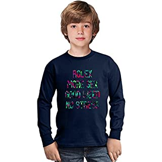 Rolex More S*x Good Weed No Stress Amazing Kids Long Sleeved Shirt by Benito Clothing - 100% Cotton- Ideal For Active Boys-Casual Wear - Perfect For A Present Unisex 3-4 years