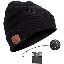 Welltop Bluetooth Bonnet, Musique Bonnet Connecté Bluetooth avec Casque  sans Fil Chapeau Chaud Tricoté pour 5a3db864373