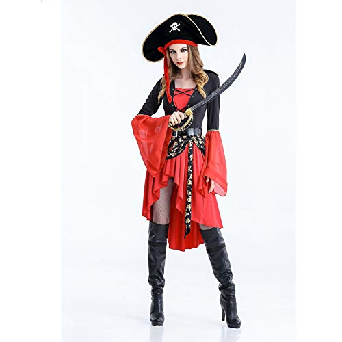 FACAI Halloween-Kostüm-Frauen Erwachsener Edle Königin-Kleid-Partei Caribbean Pirates Large Size Kleidung