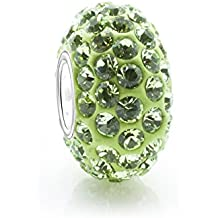 Emerald Swaroski cuenta para pulsera de cristal - August piedra Natal - 925. Broche de plata de ley Core Nuevo - Compatible con joyas Pandora tipo de pulseras