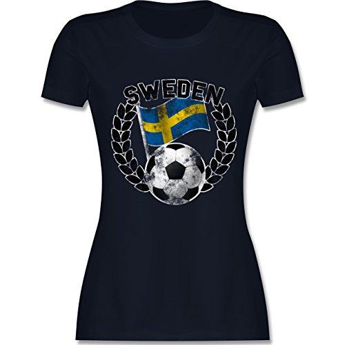 EM 2016 - Frankreich - Sweden Flagge & Fußball Vintage - tailliertes Premium T-Shirt mit Rundhalsausschnitt für Damen Navy Blau