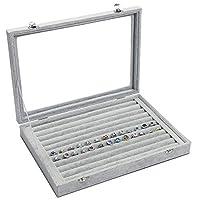 Meshela Velvet Glass Jewellery Ring Display Organiser Box Tray Holder Jewellery Earrings Storage Case