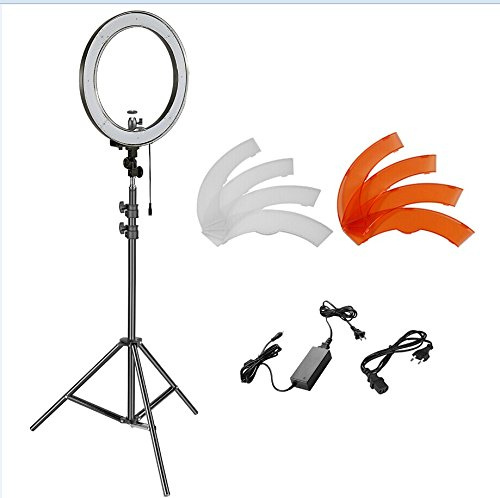 ED Ring Licht und Lichtstand Beleuchtung Kit - 240 LED Perlen SMD Ring Licht, 6,5 Fuß Einstellbare Licht Stand, Ball Kopf Hotshoe Adapter für Kamera Foto Studio YouTube Video (Licht-perlen)
