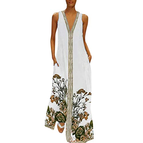 Kleid Damen Sommer Elegant Sling Party Dress Cocktail Plus Size Frauen Vintage V Ausschnitt SpleißEn Floral Maxi Kleid Gedruckt äRmellos Khaki M -
