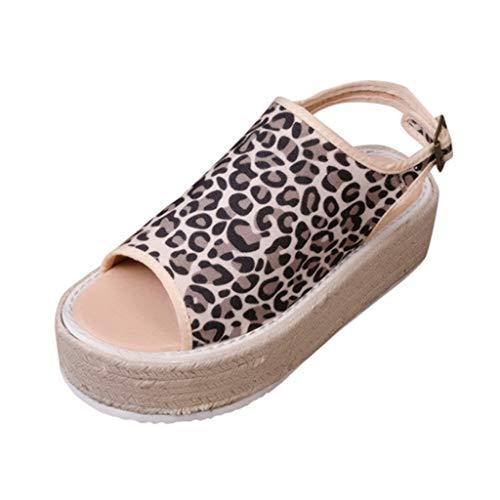 Damen Espadrille-Sandalen Sommer Sandalen Espadrilles Wedge Mode Plateauschuhe Strand Schuhe Lace Up Platform Mode Casual Römersandalen Sommerschuhe (EU:37, Khaki) Lace Up Platform Sandal