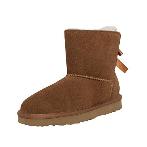 SKUTARI Wildleder Damen Frauen Winter Boots   Warm Gefüttert    Schlupf-Stiefel mit Stabiler Sohle   Schleife Pailletten Glitzer Meliert  Schuhe, Camel, 37 EU 9305c70195